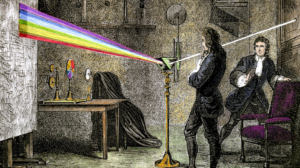 Gravura do experimento decomposição da luz com prisma realizada por Isaac Newton