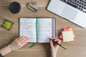 Caderno de anotações com várias anotações e esquemas para organização e planejamento pessoal