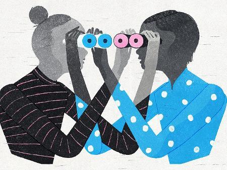 Em forma de animação, duas pessoas se auxiliam à enxergar através dos binóculos